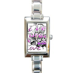 Live Peace Dream Hope Smile Love Rectangular Italian Charm Watch by SharoleneCollection