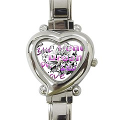 Live Peace Dream Hope Smile Love Heart Italian Charm Watch  by SharoleneCollection