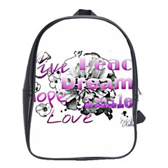 Live Peace Dream Hope Smile Love School Bag (large) by SharoleneCollection