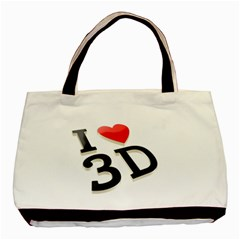 I Love 3d By Divad Brown   Basic Tote Bag (two Sides)   I3a1h1y2t6a6   Www Artscow Com Front