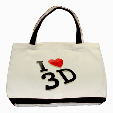 I Love 3d By Divad Brown   Basic Tote Bag   K32aqr1rjysa   Www Artscow Com Front