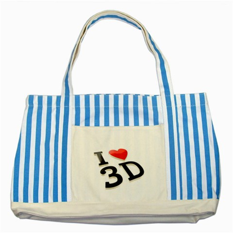 I Love 3d By Divad Brown   Striped Blue Tote Bag   Ihx8e8t9d2ky   Www Artscow Com Front