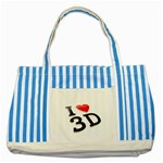 I love 3D - Striped Blue Tote Bag