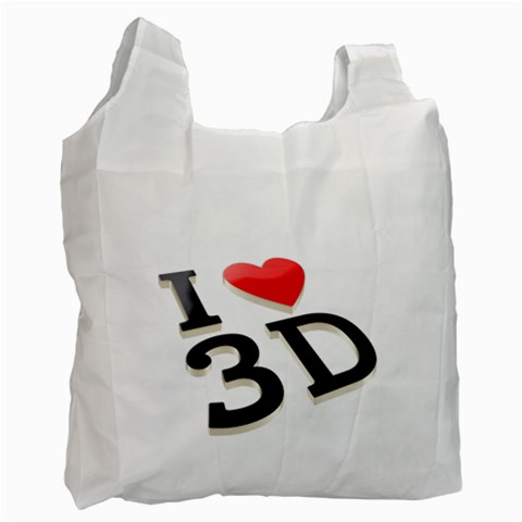 I Love 3d By Divad Brown   Recycle Bag (one Side)   Eb0ci37mg0ci   Www Artscow Com Front