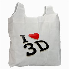 I Love 3d By Divad Brown   Recycle Bag (two Side)   Dt9v9awr0900   Www Artscow Com Front