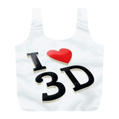 I Love 3d By Divad Brown   Full Print Recycle Bag (l)   Dlzwo3pnopcw   Www Artscow Com Front
