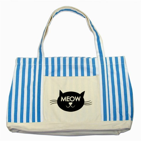 Meow Cat By Divad Brown   Striped Blue Tote Bag   Lfllvnzw7k5c   Www Artscow Com Front