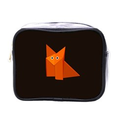 Dark Cute Origami Fox Mini Travel Toiletry Bag (one Side)