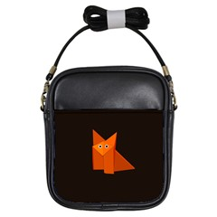 Dark Cute Origami Fox Girl s Sling Bag