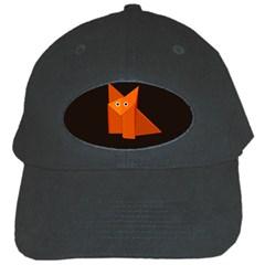 Cute Origami Fox Black Baseball Cap by CreaturesStore