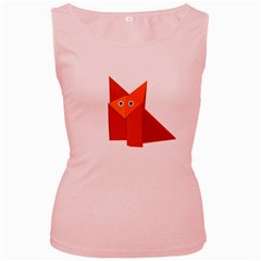 Cute Origami Fox Women s Tank Top (pink)