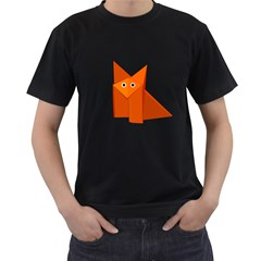 Cute Origami Fox Men s T Shirt (black) by CreaturesStore