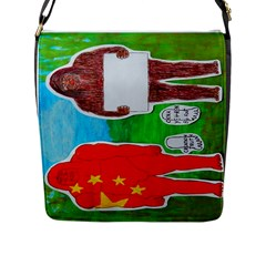 2 Yeh Ren,text & Flag In Forest  Flap Closure Messenger Bag (large) by creationtruth