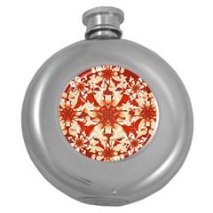 Digital Decorative Ornament Artwork Hip Flask (round) by dflcprints