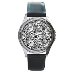 Flower Lace Round Leather Watch (silver Rim) by rokinronda