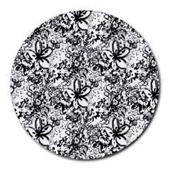 Flower Lace 8  Mouse Pad (round) by rokinronda