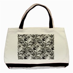 Flower Lace Twin Sided Black Tote Bag by rokinronda