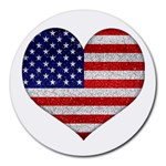 Grunge Heart Shape G8 Flags 8  Mouse Pad (Round)