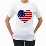 Grunge Heart Shape G8 Flags Women s Two-sided T-shirt (White)