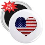 Grunge Heart Shape G8 Flags 3  Button Magnet (100 pack)