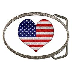 Grunge Heart Shape G8 Flags Belt Buckle (oval) by dflcprints