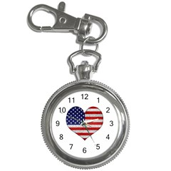 Grunge Heart Shape G8 Flags Key Chain Watch by dflcprints