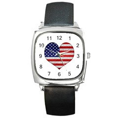 Grunge Heart Shape G8 Flags Square Leather Watch by dflcprints