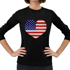Grunge Heart Shape G8 Flags Women s Long Sleeve T Shirt (dark Colored)