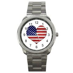 Grunge Heart Shape G8 Flags Sport Metal Watch
