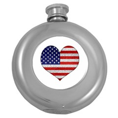 Grunge Heart Shape G8 Flags Hip Flask (round) by dflcprints