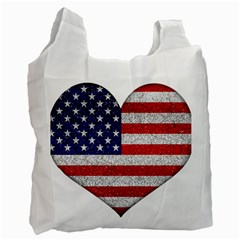 Grunge Heart Shape G8 Flags White Reusable Bag (one Side) by dflcprints