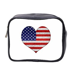 Grunge Heart Shape G8 Flags Mini Travel Toiletry Bag (two Sides) by dflcprints