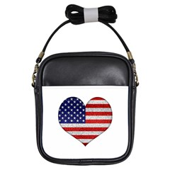 Grunge Heart Shape G8 Flags Girl s Sling Bag