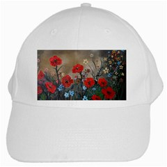 Poppy Garden White Baseball Cap by rokinronda