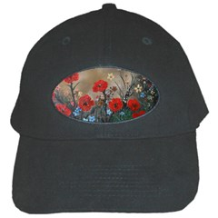 Poppy Garden Black Baseball Cap by rokinronda