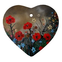 Poppy Garden Heart Ornament by rokinronda