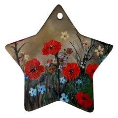 Poppy Garden Star Ornament by rokinronda