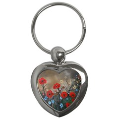 Poppy Garden Key Chain (heart) by rokinronda