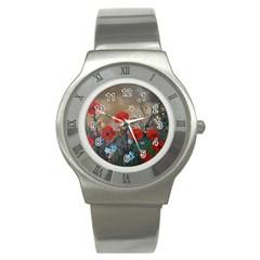 Poppy Garden Stainless Steel Watch (slim) by rokinronda