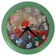 Poppy Garden Wall Clock (color) by rokinronda