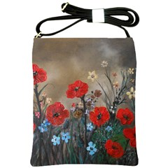 Poppy Garden Shoulder Sling Bag by rokinronda