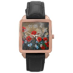 Poppy Garden Rose Gold Leather Watch  by rokinronda