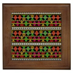 Aztec Style Pattern Framed Ceramic Tile by dflcprints