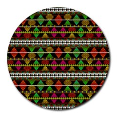 Aztec Style Pattern 8  Mouse Pad (round) by dflcprints