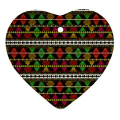 Aztec Style Pattern Heart Ornament by dflcprints