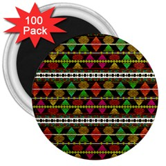 Aztec Style Pattern 3  Button Magnet (100 Pack) by dflcprints