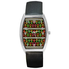 Aztec Style Pattern Tonneau Leather Watch by dflcprints