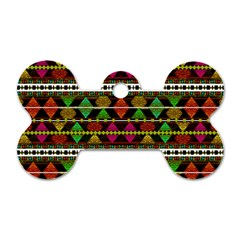 Aztec Style Pattern Dog Tag Bone (two Sided) by dflcprints