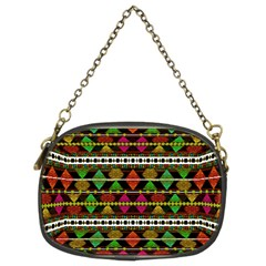 Aztec Style Pattern Chain Purse (two Sided)