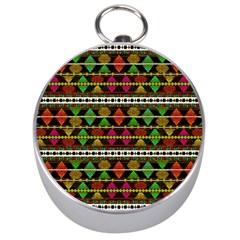 Aztec Style Pattern Silver Compass by dflcprints